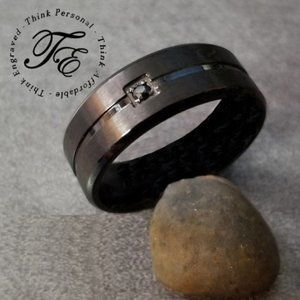 Matte Black Wedding Band or Promise Ring with Gem